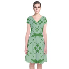 Green Hole Short Sleeve Front Wrap Dress