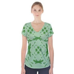 Green Hole Short Sleeve Front Detail Top