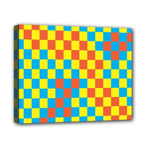 Optical Illusions Plaid Line Yellow Blue Red Flag Canvas 10  x 8