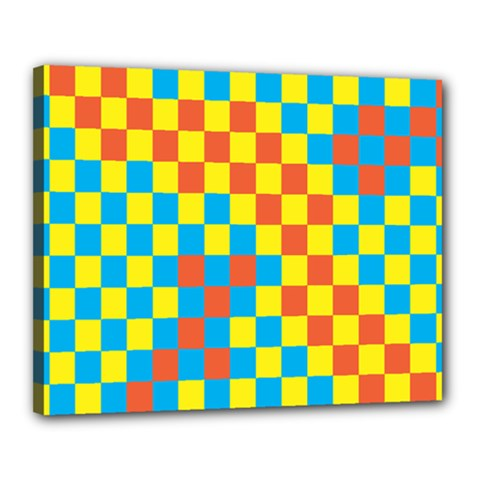 Optical Illusions Plaid Line Yellow Blue Red Flag Canvas 20  X 16