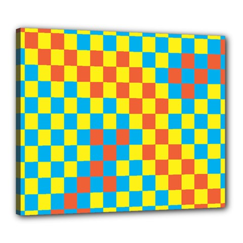 Optical Illusions Plaid Line Yellow Blue Red Flag Canvas 24  x 20