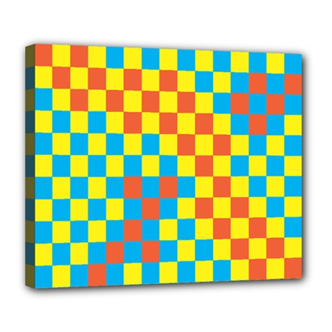 Optical Illusions Plaid Line Yellow Blue Red Flag Deluxe Canvas 24  x 20