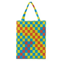 Optical Illusions Plaid Line Yellow Blue Red Flag Classic Tote Bag