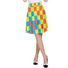 Optical Illusions Plaid Line Yellow Blue Red Flag A-Line Skirt