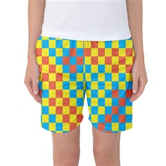 Optical Illusions Plaid Line Yellow Blue Red Flag Women s Basketball Shorts