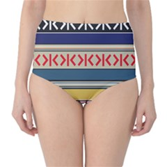 Original Code Rainbow Color Chevron Wave Line High-Waist Bikini Bottoms