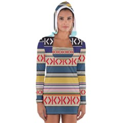 Original Code Rainbow Color Chevron Wave Line Women s Long Sleeve Hooded T-shirt