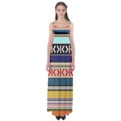 Original Code Rainbow Color Chevron Wave Line Empire Waist Maxi Dress