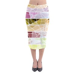 Geometric Mosaic Line Rainbow Midi Pencil Skirt