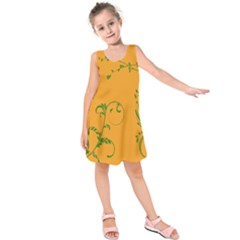 Nature Leaf Green Orange Kids  Sleeveless Dress