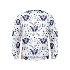 Heart Love Valentine Flower Floral Purple Kids  Sweatshirt