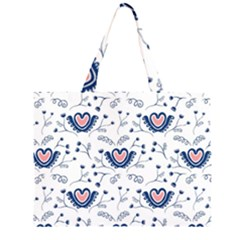 Heart Love Valentine Flower Floral Purple Large Tote Bag