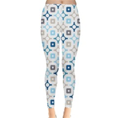 Plaid Line Chevron Wave Blue Grey Circle Leggings
