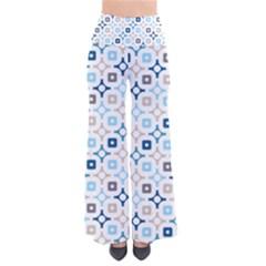 Plaid Line Chevron Wave Blue Grey Circle Pants