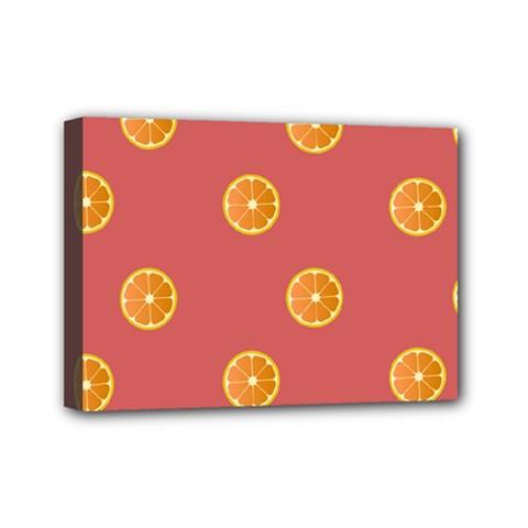 Oranges Lime Fruit Red Circle Mini Canvas 7  x 5
