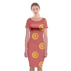 Oranges Lime Fruit Red Circle Classic Short Sleeve Midi Dress