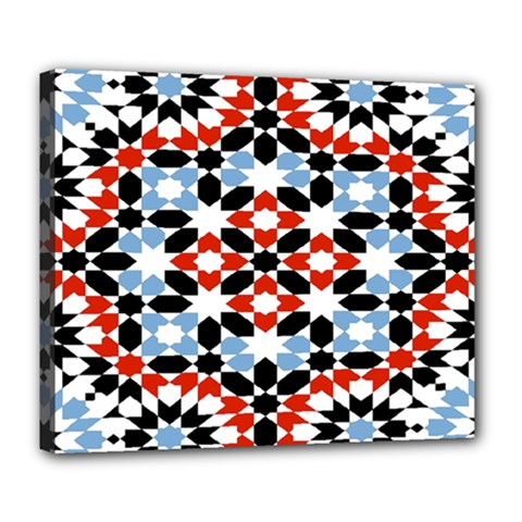 Oriental Star Plaid Triangle Red Black Blue White Deluxe Canvas 24  x 20