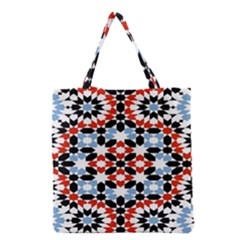 Oriental Star Plaid Triangle Red Black Blue White Grocery Tote Bag