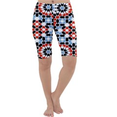 Oriental Star Plaid Triangle Red Black Blue White Cropped Leggings