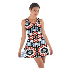 Oriental Star Plaid Triangle Red Black Blue White Cotton Racerback Dress