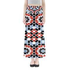 Oriental Star Plaid Triangle Red Black Blue White Maxi Skirts