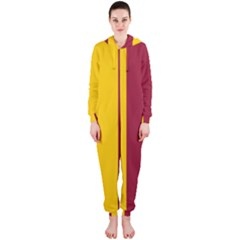 Red Yellow Flag Hooded Jumpsuit (Ladies)