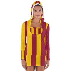Red Yellow Flag Women s Long Sleeve Hooded T Shirt