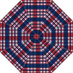 Plaid Red White Blue Straight Umbrellas