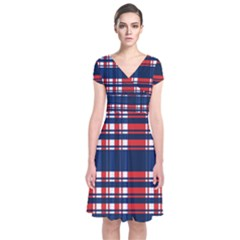 Plaid Red White Blue Short Sleeve Front Wrap Dress