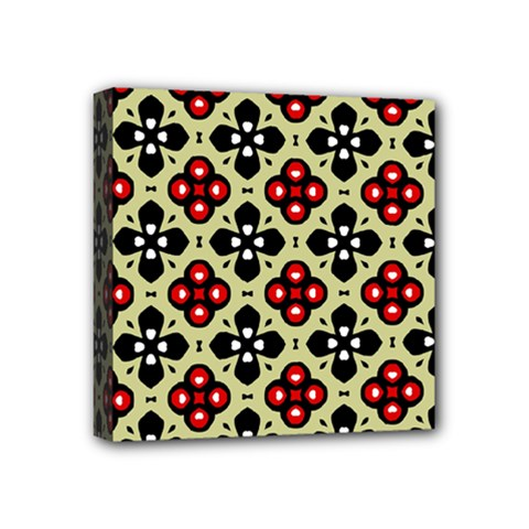 Seamless Floral Flower Star Red Black Grey Mini Canvas 4  x 4