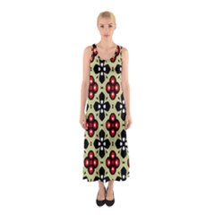 Seamless Floral Flower Star Red Black Grey Sleeveless Maxi Dress