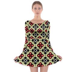 Seamless Floral Flower Star Red Black Grey Long Sleeve Skater Dress