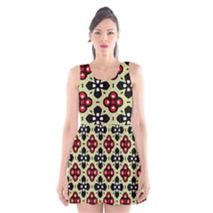 Seamless Floral Flower Star Red Black Grey Scoop Neck Skater Dress