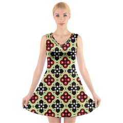 Seamless Floral Flower Star Red Black Grey V Neck Sleeveless Skater Dress