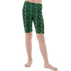 Abstract Pattern Graphic Lines Kids  Mid Length Swim Shorts