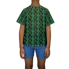 Abstract Pattern Graphic Lines Kids  Short Sleeve Swimwear