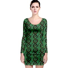 Abstract Pattern Graphic Lines Long Sleeve Bodycon Dress