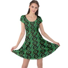 Abstract Pattern Graphic Lines Cap Sleeve Dresses
