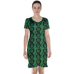 Abstract Pattern Graphic Lines Short Sleeve Nightdress