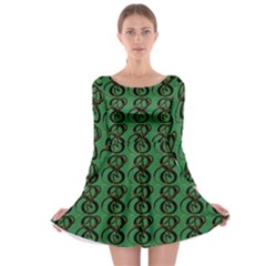Abstract Pattern Graphic Lines Long Sleeve Skater Dress