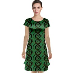 Abstract Pattern Graphic Lines Cap Sleeve Nightdress