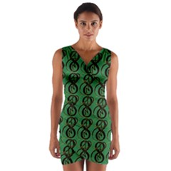 Abstract Pattern Graphic Lines Wrap Front Bodycon Dress