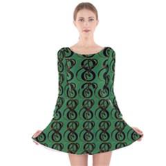 Abstract Pattern Graphic Lines Long Sleeve Velvet Skater Dress