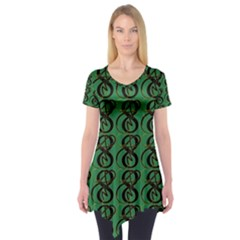 Abstract Pattern Graphic Lines Short Sleeve Tunic