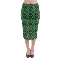 Abstract Pattern Graphic Lines Midi Pencil Skirt