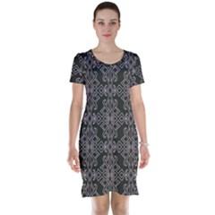 Line Geometry Pattern Geometric Short Sleeve Nightdress