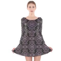 Line Geometry Pattern Geometric Long Sleeve Velvet Skater Dress
