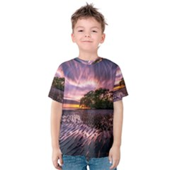 Landscape Reflection Waves Ripples Kids  Cotton Tee