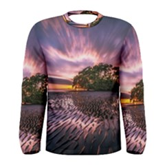 Landscape Reflection Waves Ripples Men s Long Sleeve Tee