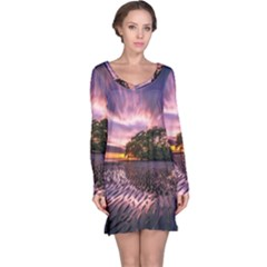 Landscape Reflection Waves Ripples Long Sleeve Nightdress